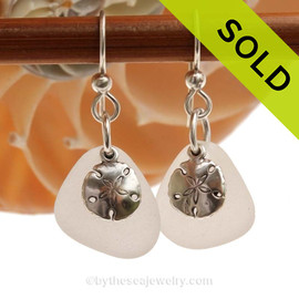 Genuine Beach Found pure White Sea Glass Earrings in sterling with Sterling Silver Sandollar charms. SOLD - Sorry this Sea Glass Jewelry Selection is NO LONGER AVAILABLE!