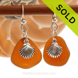 Vivid Amber Brown Sea Glass Earrings with Solid Sterling Shell Charms. SOLD - Sorry these Sea Glass Earrings are NO LONGER AVAILABLE!