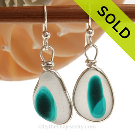 Vivid flashed Teal Green Sea Glass Earrings set in our Original Wire Bezel© setting. Awesome sea glass from Seaham England where art glass factories discarded scraps into the North Sea. SOLD - Sorry these Ultra Rare Sea Glass Earrings are NO LONGER AVAILABLE!