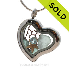 Spring Tides  - Aqua Beach Found Genuine Sea Glass Heart Locket Necklace W/ Starfish & Aquamarine Gem
