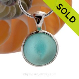 Vivid Aqua Sea Glass Catseye Marble Pendant In Deluxe Sterling Wire Bezel©