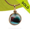 A vivid deep Electric Teal and Aubergine Mixed English Multi sea glass set for a necklace in our Original Sea Glass Bezel© in 14K Goldfilled setting. SOLD - Sorry this Ultra Rare Sea Glass Pendant is NO LONGER AVAILABLE!