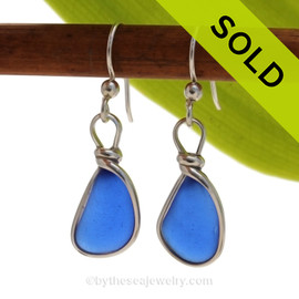 Smaller Cobalt Blue Genuine Sea Glass Earrings set in our Original Wire Bezel in Sterling. SOLD - Sorry these Sea Glass Earrings are NO LONGER AVAILABLE!