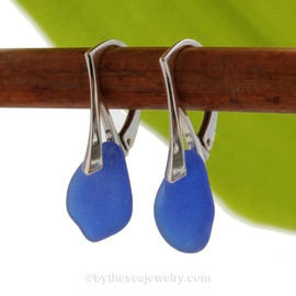 PERFECT Beach Found Cobalt Blue Genuine Sea Glass Earrings On Solid Sterling Silver Leverbacks