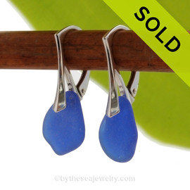 PERFECT Beach Found Cobalt Blue Genuine Sea Glass Earrings On Solid Sterling Silver Leverbacks. SOLD - Sorry these Sea Glass Earrings are NO LONGER AVAILABLE!