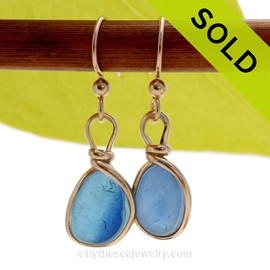 Vivid flashed Light and Dark Blue Sea Glass Earrings set in our Original Wire Bezel© setting In 14K Goldfilled. SOLD - Sorry these Ultra Rare Sea Glass Earrings are NO LONGER AVAILABLE!