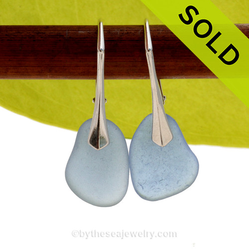 PERFECT Beach Found Carolina Blue Genuine Sea Glass Earrings On Solid Sterling Silver Leverbacks. SOLD - Sorry these Rare Sea Glass Earrings are NO LONGER AVAILABLE!