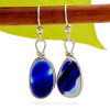 Super Ultra Mixed Cobalt Blue sea glass pieces from Seaham England are set in our Original Wire Bezel© earring setting. This is a very hard sea glass to match as the color is cross sectioned from one side to the other.