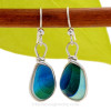 Super Ultra Tricolor Mixed sea glass pieces from Seaham England are set in our Original Wire Bezel© earring setting. This is a very hard sea glass to match as the color is cross sectioned from one side to the other.