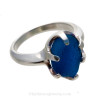 A stunning piece of Victorian Era vivid Royal Blue sea glass set in a secure solid sterling prong ring.