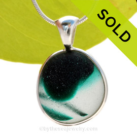 This rare Seaham mixed green sea glass multi color pendant is set in our Deluxe Wire Bezel© pendant setting. SOLD - Sorry this Ultra Rare Sea Glass Pendant is NO LONGER AVAILABLE