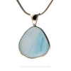 A Genuine Sea Glass Jewelry piece set in a timeless elegant and secure setting of sterling silver.