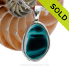 This rare Seaham mixed vivid teal sea glass multi color pendant is set in our Deluxe Wire Bezel© pendant setting. SOLD - Sorry this Ultra Rare Sea Glass Pendant is NO LONGER AVAILABLE!