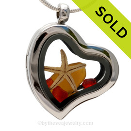 Beautiful Amber sea glass pieces combined with a real starfish and red glass chips in this Genuine Sea Glass Heart Locket Necklace. SOLD - Sorry this Sea Glass Locket is NO LONGER AVAILABLE!