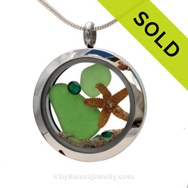Vivid Green Genuine Sea Glass in this Stainless Steel Locket Necklace is combined with vivid Emerald Green Crystals and a baby Starfish. SOLD - Sorry this Sea Glass Locket is NO LONGER AVAILABLE!
