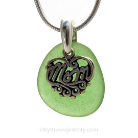 A PERFECT smaller piece of Vivid Green genuine sea glass with a solid sterling bail and MOM charm. This piece comes complete with our sterling 1MM snake chain.