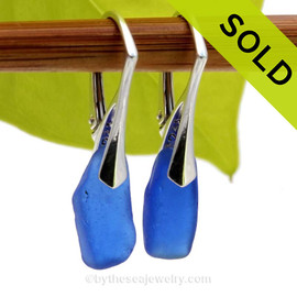 Genuine Blue Sea Glass Earrings on Sterling Silver Leverbacks SOLD - Sorry this Sea Glass Jewelry Selection is NO LONGER AVAILABLE!