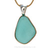 Stunning and not for the timid, this is a LARGE sea glass pendant. The pendant comes with a heavy 14K goldfilled charm chain but you may also add this seamless snake chain to your order.