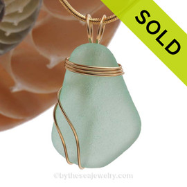 A stunning thick piece of vivid sea water green sea glass in a large necklace pendant. SOLD - Sorry this Sea Glass Pendant is NO LONGER AVAILABLE!