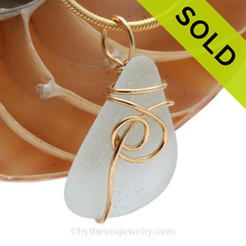 A nice smaller piece of sea water green sea glass in a smaller necklace pendant in our signature Sea Swirl setting. SOLD - Sorry this Rare Sea Glass Pendant is NO LONGER AVAILABLE!