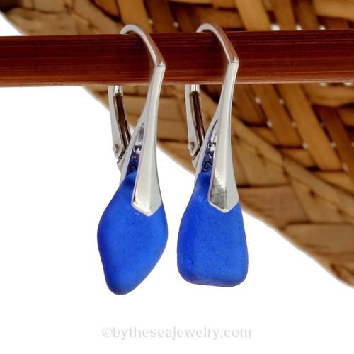 Genuine Cobalt Blue Beach Found Sea Glass Earrings on Sterling Leverback Earrings