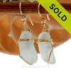 Genuine beach found vivid yellowy seafoam green sea glass earrings in a simple wrapped goldfilled setting. SOLD - Sorry these Sea Glass Earrings are NO LONGER AVAILABLE!