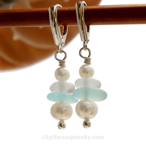 Genuine Aqua and White Sea Glass Earrings with sterling details and AAA grade pearls on solid sterling leverback earrings.