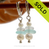 Genuine Aqua and White Sea Glass Earrings with sterling details and AAA grade pearls on solid sterling leverback earrings. SOLD - Sorry these Sea Glass Earrings are NO LONGER AVAILABLE!