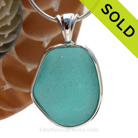 A LARGE and P-E-FR-F-E-C-T piece of Vivid Electric Aqua Blue Genuine Sea Glass in our In Our Deluxe Sterling Wire Bezel© Necklace Pendant. SOLD - Sorry this Rare Sea Glass Pendant is NO LONGER AVAILABLE!