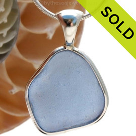 This is a beautiful LARGE P-E-R-F-E-C-T Carolina Blue Sea Glass set in our Deluxe Wire Bezel© pendant setting in Solid Sterling. SOLD - Sorry this Rare Sea Glass Pendant is NO LONGER AVAILABLE!