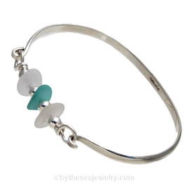 Pure White  & Vivid Aqua Genuine Sea Glass on this solid sterling silver Half round Sea Glass Bangle Bracelet. This is finished in solid sterling beads.