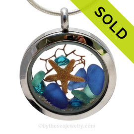 A BEAUTIFUL Natural Cobalt Blue and Aqua beach found Sea Glass Locket Necklace with a real starfish and Vivid Aqua or ZirconCrystal Gems. SOLD - Sorry this Sea Glass Locket is NO LONGER AVAILABLE!