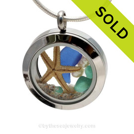 A BEAUTIFUL Natural Cobalt Blue and Aqua beach found Sea Glass Mini Locket Necklace with a real starfish and real freshwater Pearls. SOLD - Sorry this Sea Glass Locket is NO LONGER AVAILABLE!