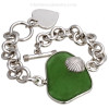 A custom made sea glass bracelet using Customer Supplied Sea Glass and Supplied Sterling Toggle Bracelet.