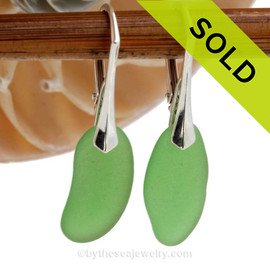 Stunning and Vivid Long Natural Vivid Green Beach Found Green sea glass Earrings on solid Sterling Silver Leverbacks.