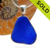 This is a beautiful and LARGE Cobalt Blue Sea Glass set in our Original Wire Bezel© pendant setting in Sterling Silver. SOLD - Sorry this Rare Sea Glass Pendant is NO LONGER AVAILABLE!