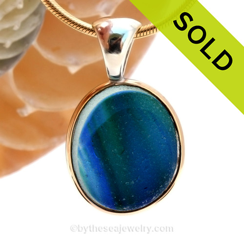 This amazing Water colors multi sea glass piece is versatile in a mixed metal Deluxe Wire Bezel© pendant setting. SOLD - Sorry this Ultra Rare Sea Glass Pendant is NO LONGER AVAILABLE!