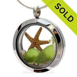 Genuine lime green Sea Glass Locket with a small REAL starfish a real beach sand in this stainless steel locket. Finished with a  vivid peridot crystal gem and fresh water pearls for a bit of beachy bling.  SOLD - Sorry this Sea Glass Locket is NO LONGER AVAILABLE!