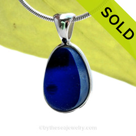 A Lovely Small Mixed Blue Seaham multi sea glass set in Sold Sterling Silver Deluxe Wire Bezel© pendant setting. SOLD - Sorry this Sea Glass Pendant is NO LONGER AVAILABLE!