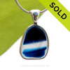 A Lovely Medium Sized Mixed Blue Seaham multi sea glass set in Sold Sterling Silver Deluxe Wire Bezel© pendant setting. SOLD - Sorry this Rare Sea Glass Pendant is NO LONGER AVAILABLE