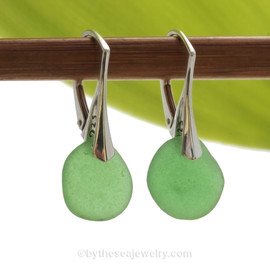A simple elegant pair of Genuine Sea Glass Earrings in round green on Solid Sterling (.925) Leverbacks
