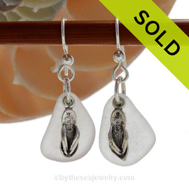 Genuine Unaltered White Sea Glass Earrings with Solid Sterling Flip Flop Charms. SOLD - Sorry these Sea Glass Earrings are NO LONGER AVAILABLE!