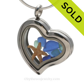 Beautiful pieces cobalt blue and aqua sea glass in this Genuine Sea Glass Heart Locket Necklace. SOLD - Sorry this Sea Glass Locket is NO LONGER AVAILABLE!