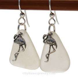 Genuine Unaltered Large White Sea Glass Earrings with Solid Sterling Flamingo Charms.