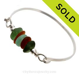 Feels like fall with this Jeweltone Sea Glass Bangle Bracelet in tones of green, aqua and amber brown. SOLD - Sorry this Sea Glass Bangle Bracelet is NO LONGER AVAILABLE!