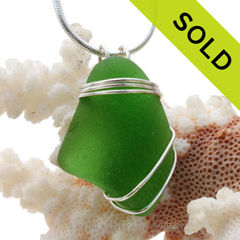 LARGE & Thick Vivid Green Sea Glass Pendant In Sterling Triple Necklace Pendant Setting. SOLD - Sorry this Sea Glass Pendant is NO LONGER AVAILABLE!