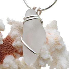 Pure White Sea Glass In Deluxe Sterling Wire Necklace Pendant.