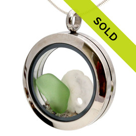 Green Sea Glass Sandollar & Real Sand Locket