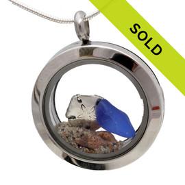 Blue Sea Glass Sterling Sandollar & Real Sand Beachlovers Locket
