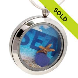 Oceanlovers -  Blue Sea Glass Locket W Starfish & Sand